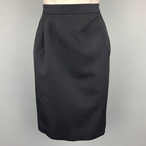 Vintage YVES SAINT LAURENT Rive Gauche Size 6 Navy Wool Pencil Skirt