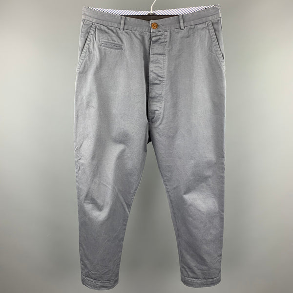 VIVIENNE WESTWOOD MAN Size 36 Grey Cotton Zip Fly Drop Crotch Dress Pants
