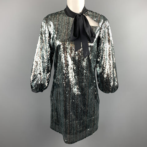 C'N'C by CoSTUME NATIONAL Size 6 Blue & Silver Sequin Black Bow Collar Dress
