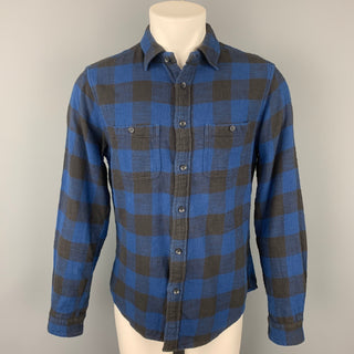 ALEX MILL Size M Blue & Black Plaid Cotton Button Up Long Sleeve Shirt