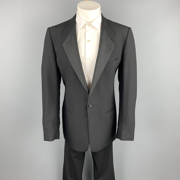 MANI by GIORGIO ARAMNI 40 Long Black Wool Tuxedo