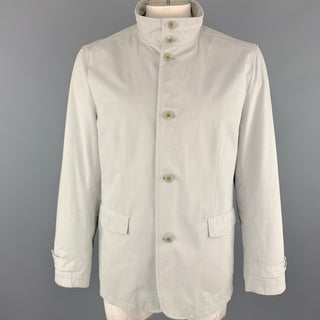 THEORY Jayden Size XL Light Grey Cotton High Collar Belted Cuffs Buttoned Jacket