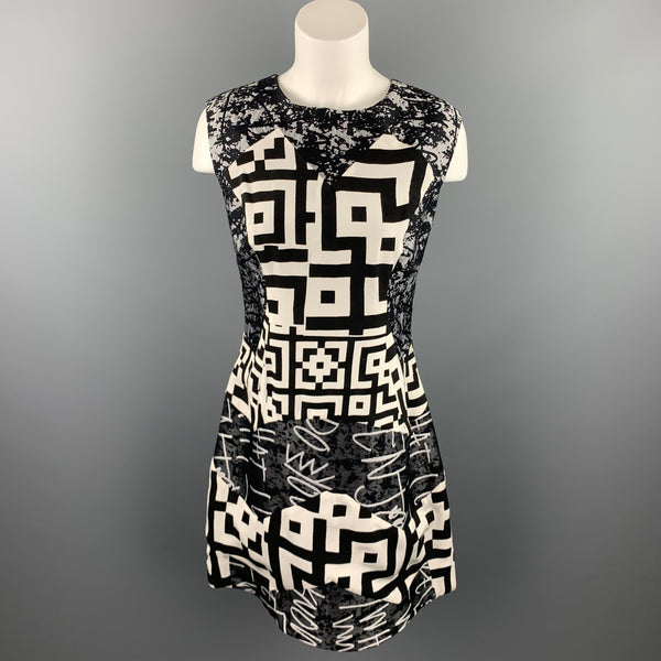 LOUISE GRAY Size 10 Gray Graphic Wool / Silk Shift Dress
