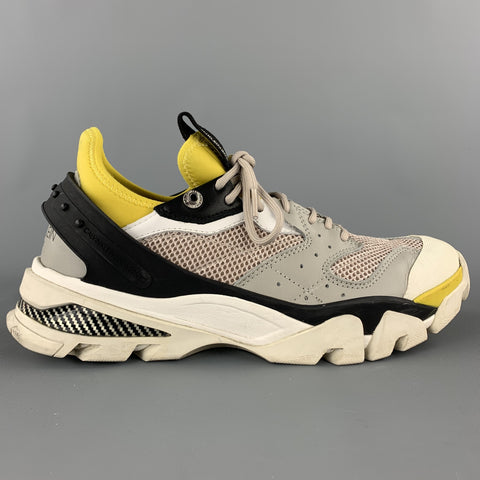 CALVIN KLEIN 205W39NYC Size 9.5 Grey & Yellow Mixed Materials Carlos 10 Sneakers