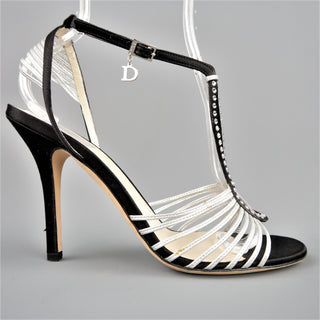 CHRISTIAN DIOR Size 9.5 Black & Silver Silk & Leather Rhinestone T Strap Sandals