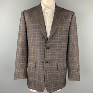 ISAIA Charcoal & Purple Plaid Wool / Cashmere Notch Lapel Sport Coat