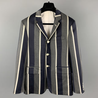 THOM BROWNE Size 38 Grey & Navy Stripe Wool Nautical Notch Lapel Anchor Buttons Sport Coat