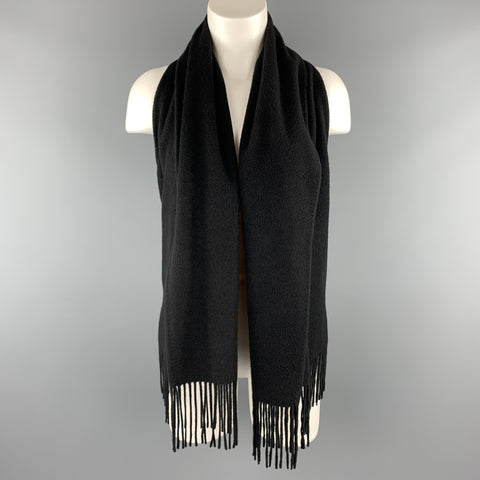 HERMES Size 8 Black Cashmere Fringe Leather Back Scarf Vest