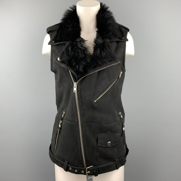 BLK DNM Size S Black Shearling Zip Up Belted Biker Vest