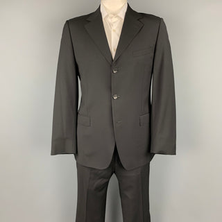 GUCCI Size 42 Regular Black Wool Notch Lapel Suit
