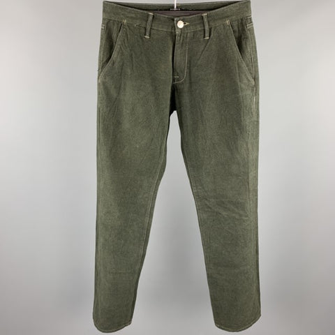 AGAVE Size 31 Forest Green Contrast Stitch Brushed Cotton Casual Pants