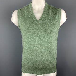 BALLANTYNE Size XL Moss Green Cashmere V-Neck Sweater Vest