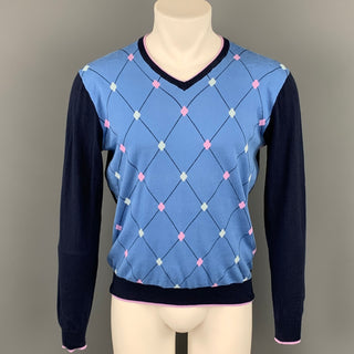 MASSIMO REBECCHI Size M Blue & Navy Argyle Cotton V-Neck Pullover