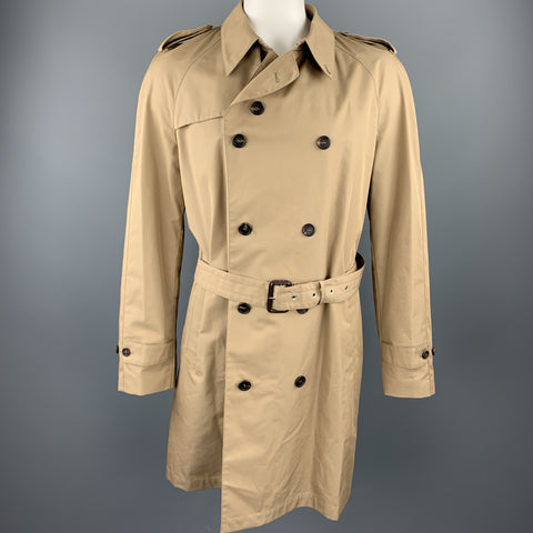 DUNHILL Size XXL Khaki Cotton / Polyamide Double Breasted Trenchcoat