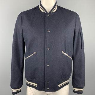 PAUL SMITH JEANS Size L Navy Solid Wool Blend Snaps Jacket
