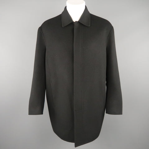 DONNA KARAN M Black Solid Wool / Nylon Hidden Placket Car Coat