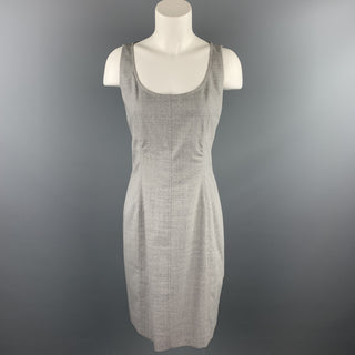 AKRIS Size 6 Grey Heather Acetate / Viscose Scoop Neck Shift Dress