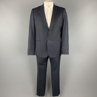 BELVEST Size 44 Navy Plaid Wool Notch Lape Suit