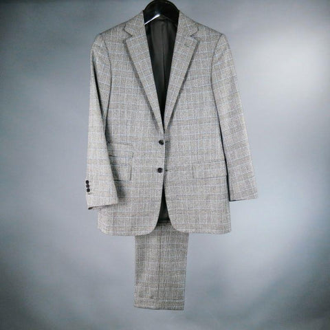RALPH LAUREN 38 Short Gray Glenplaid Wool / Cashmere 32 30 Suit
