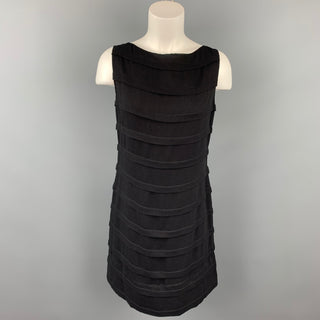 DEBORAH HAMPTON Size 8 Black Crepe Viscose / Silk Shift Cocktail Dress