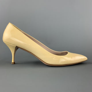 MIU MIU Size 9 Beige Patent Leather Kitten Heel Pumps