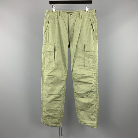 JOURNAL STANDARD Size L Olive Solid Cotton Cargo Casual Pants