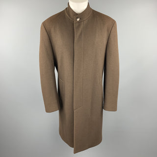 THIERRY MUGLER Size 40 Brown Wool High Collar Hidden Placket Coat