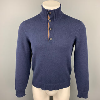 RALPH LAUREN Purple Label Size S Navy Cashmere Mock Turtleneck Pullover