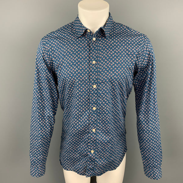PAUL SMITH JEANS Tailored Fit Size M Blue Paisley Cotton Button Up Long Sleeve Shirt