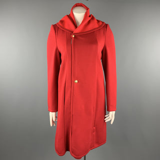 GIORGIO ARMANI Size 12 Red Round Collar Zip Button Coat