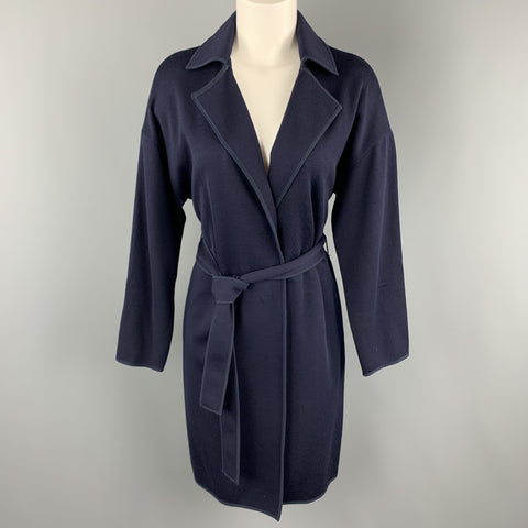 ST. JOHN Size S Navy Wool Blend Extended Cardigan Duster Coat