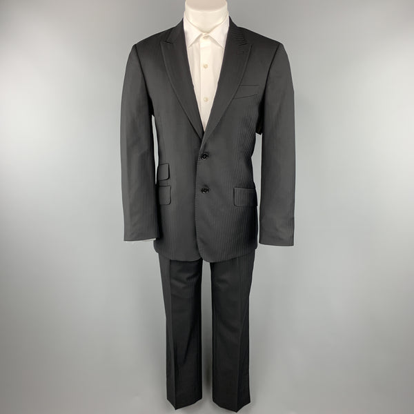 PAUL SMITH Size 38 Black Herringbone Wool Peak Lapel Suit