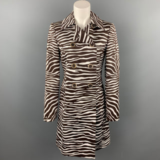 MICHAEL KORS Size 4 Brown Zebra Print Double Breasted Trenchcoat