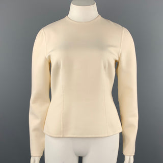 ESME VIE Size 12 Cream Wool Crew-Neck Long Sleeve Pullover