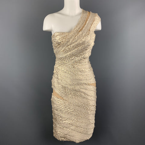 REEM ACRA Size 2 Metallic Gold & Silver Layered Jacquard One Shoulder Cocktail Dress