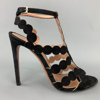 ALAIA Size 8 Black Suede Laser Cut Strappy Sandals