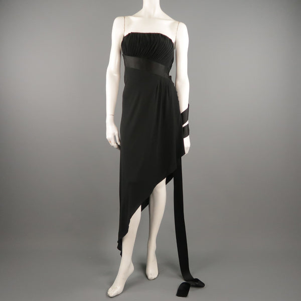 Vintage CHANEL Spring 1991 Size 6 / FR 38  Black Silk Bustier Ribbon Cocktail Dress