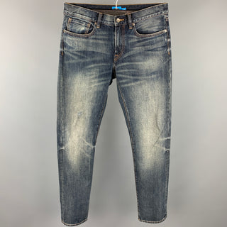 CLUB MONACO Size 31 Blue Dirty Wash Denim Distressed Jeans