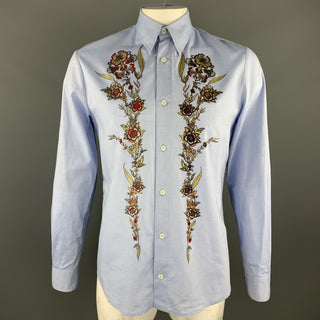 JUST CAVALLI Size XXL Light Blue Glitter Floral Print Dress Shirt