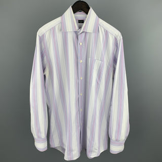PAUL SMITH Size S Lavender Stripe Cotton Button Up Long Sleeve Shirt