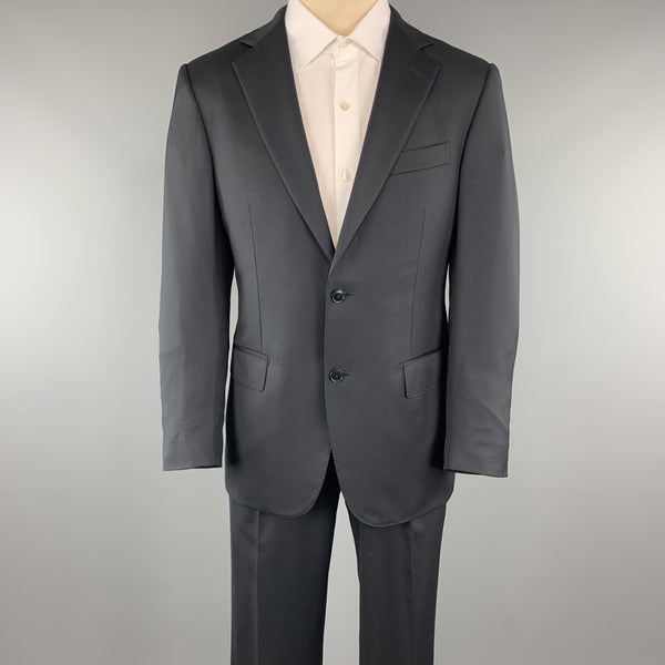 ERMENEGILDO ZEGNA Size 38 Navy Solid Short Wool Notch Lapel 32 x 30 Suit