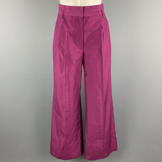 MARC JACOBS Size 0 Purple Cotton Pleated Wide Leg High Waist Dress Pants