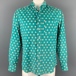 GITMAN BROS x OPENIING CEREMONY Size L Teal Floral Corduroy Button Up Long Sleeve Shirt
