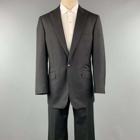 DAVID AUGUST Size 40 Black Stripe Wool Peak Lapel 34 x 31 Suit