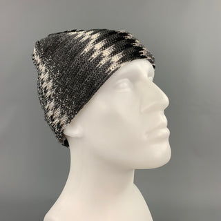 MISSONI Grey Silver Zig-Zag Wool Blend Beanie