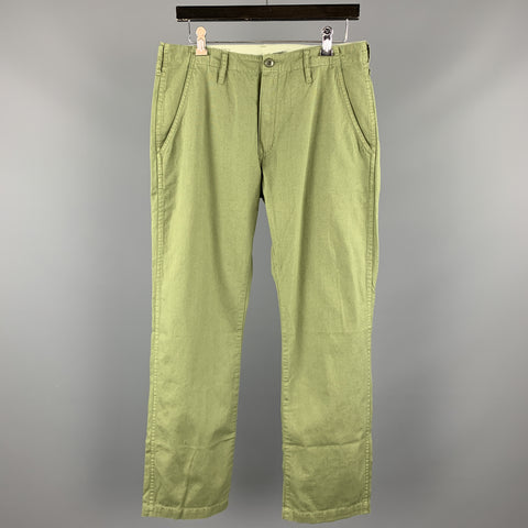 JOURNAL STANDARD Size L Olive Solid Cotton 32 Zip Fly Casual Pants
