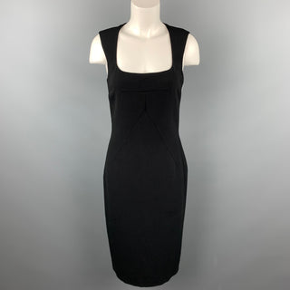 DOLCE & GABBANA Size 8 Black Wool Blend Scoop Neck A-Line Dress