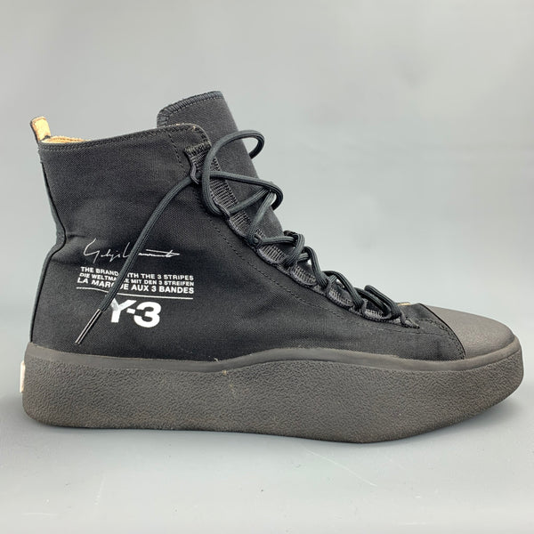 Y-3 Bashyo Size 9.5 Core Black Canvas High Top Sneakers
