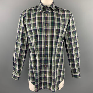 HAMILTON Size L Green & Navy Plaid Cotton Button Down Long Sleeve Shirt