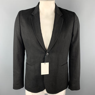 PAUL SMITH Size L Black Linen / Wool Notch Lapel Sport Coat